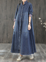 No Sense Solid Color Button Denim Midi Dress