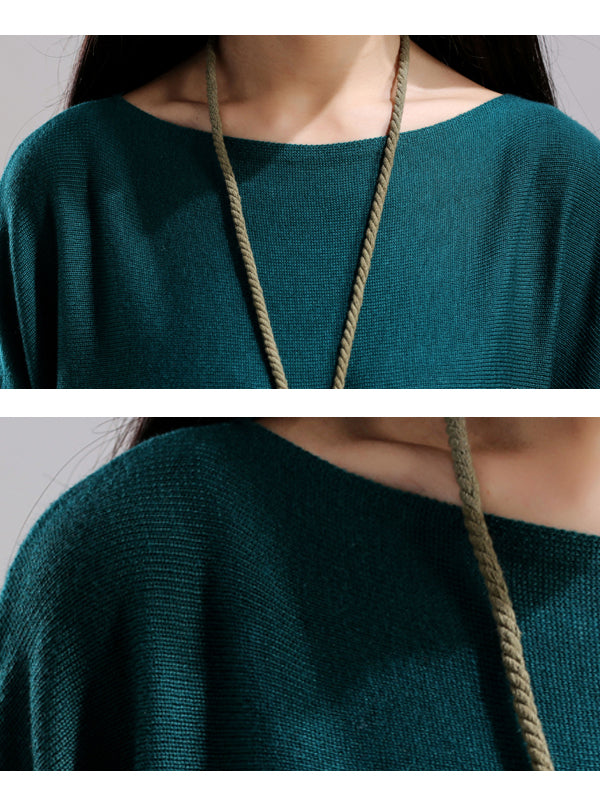 Boat Neck Knitted Sweater Dress