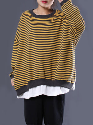 Effie Round Neck Stripe Tunic Top