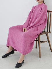 Balloon Style Loose Pink Sweater Dress