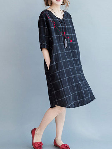 Chives Windowpane Midi Dress