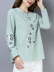 Jeannine Vintage Irregular Floral Embroidered Buttoned T-Shirts