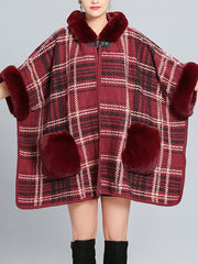 Feeling Fluffery Plaid Print Plus Size Cape Cardigan