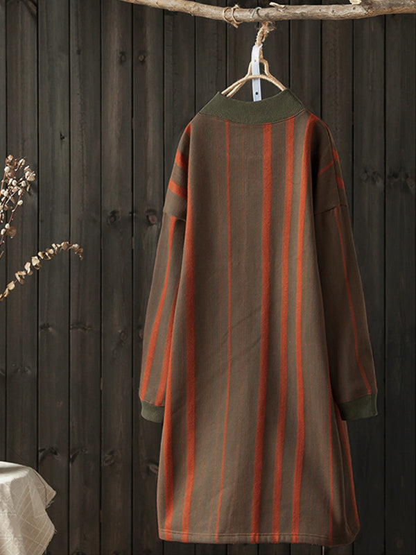 Mabel Half Neck Ethnic Quilted Sweatshirt Dress with Geometric Color Matching