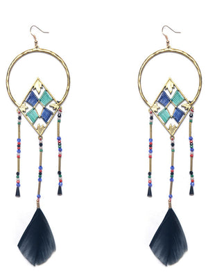 Ethnic Feather Earrings