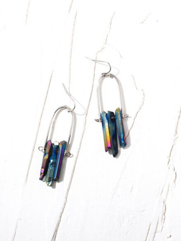 Natural Stone Crystal Earrings
