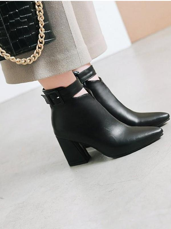 Chunky n Pointed Buckle Boots
