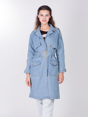 Light Blue Front Double Pocket Fureal Coat
