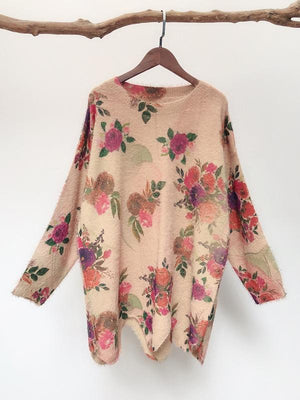Melva Ethnic Wave Knit Top with Floral Prints