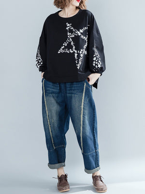 Grace Knit Top with Stellar Prints