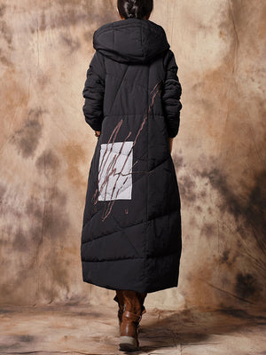 Hoodie Overcoat with Embroidered Strokes
