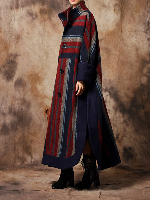 Manchester Overcoat with Alternating Stripes