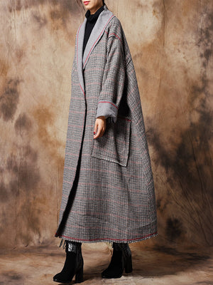 Houndstooth Overcoat with Outlining Lapel