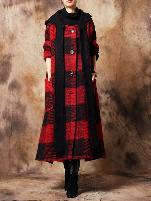 Slim Hoodie Overcoat with Plaid Patterns