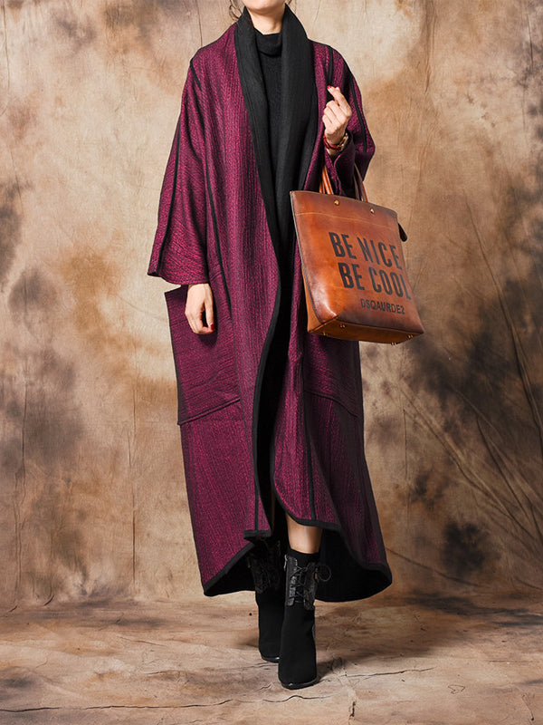 Jacquard Overcoat with Batwing Sleeves