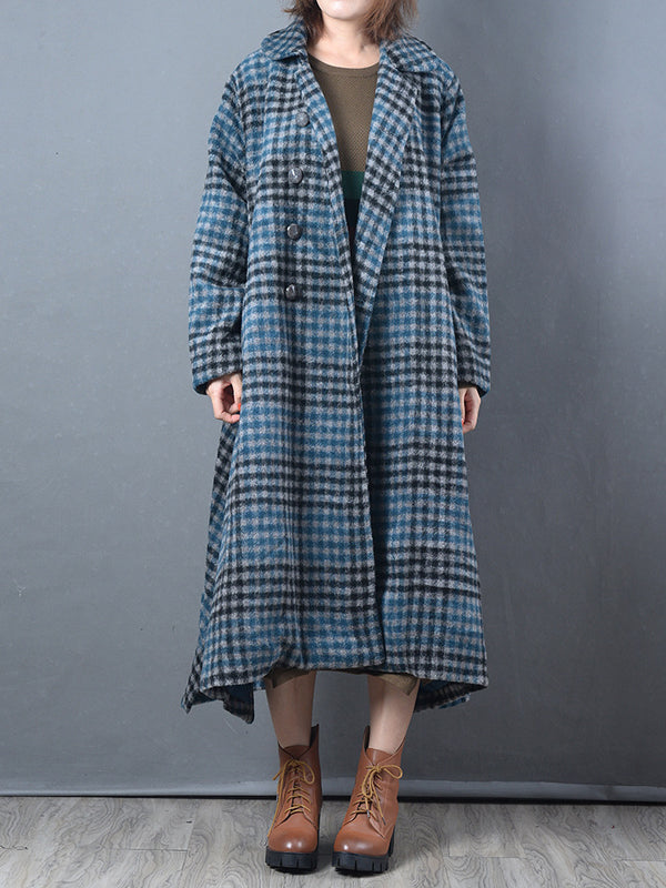 Buttoned Overcoat with Plaid Patterns