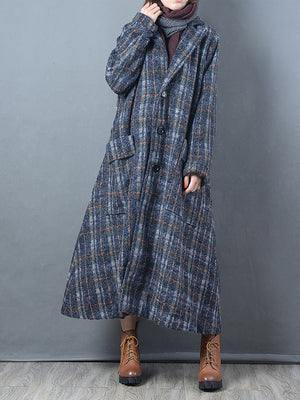 Pocket Overcoat with Plaid Patterns
