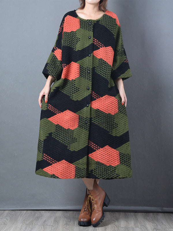 Ninth Sleeve Overcoat with Geometric Patterns