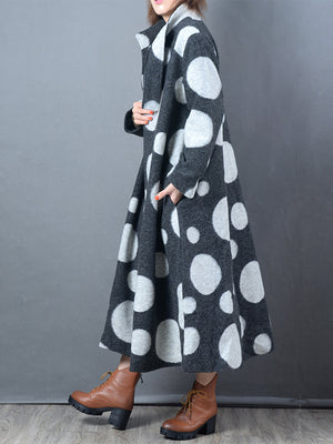 Loose Overcoat with Polka Dots