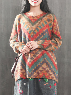 Assorted Pattern Sweater Top