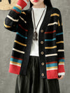 Vintage Cardigan with Rainbow Strips