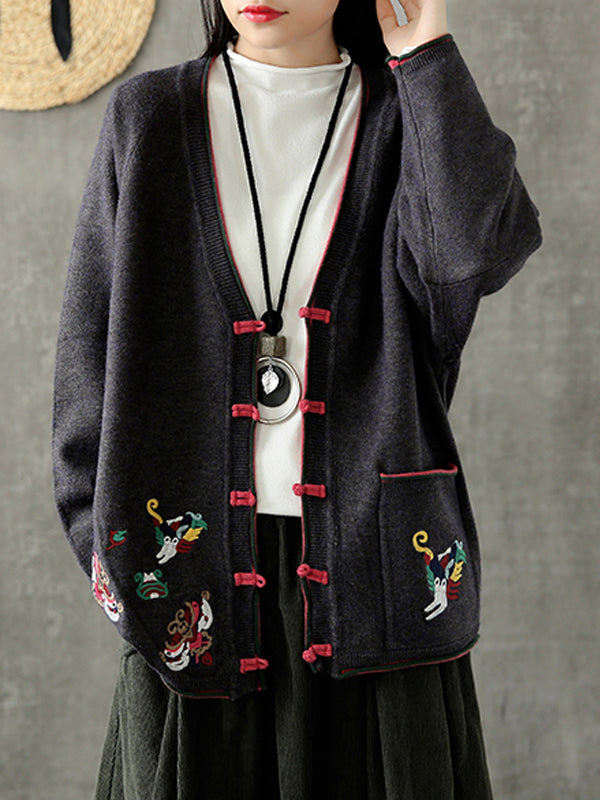 V-Neck Cardigan with Buttonhole Loops