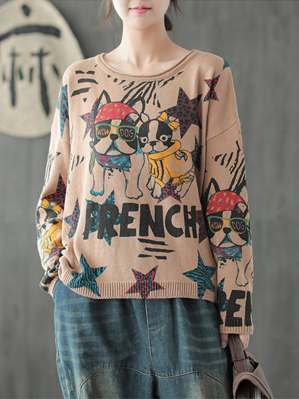 Pullover Sweater Top with Cartoon Puppies