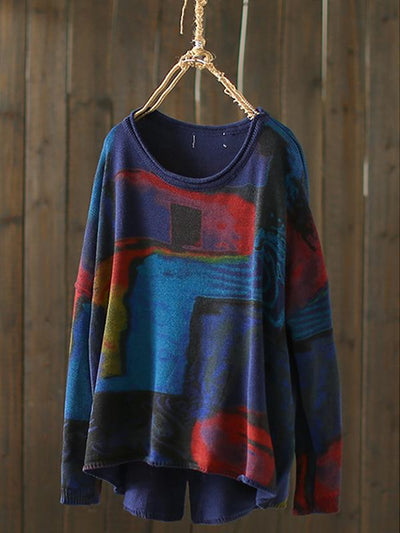Lorie Sweater Top with Oil Paintings