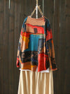 Hemming Sweater Top with Oil Paintings