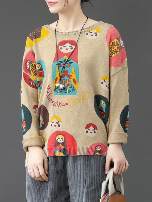 Round Neck Sweater Top with Cute Gals