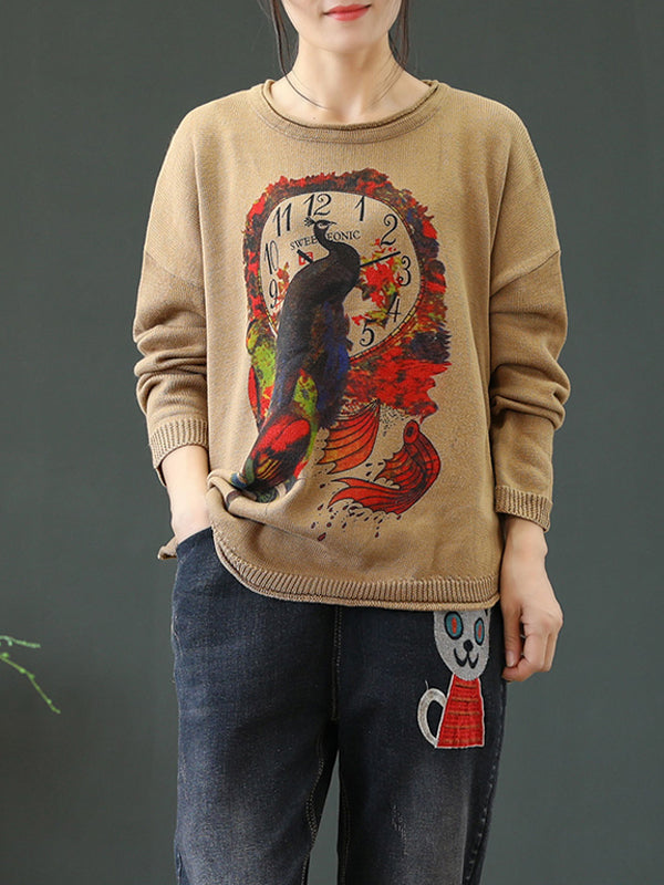 Pullover Sweater Top with Peacock Prints