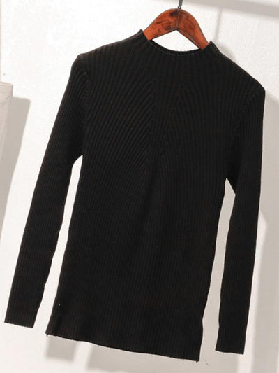 Minimal Neck Bottoming Sweater with Ribbed Sleeves