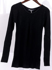 Round Neck Bottoming Sweater with Full Sleeves