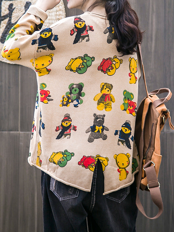 Round Neck Sweater with Cartoon Bear Prints
