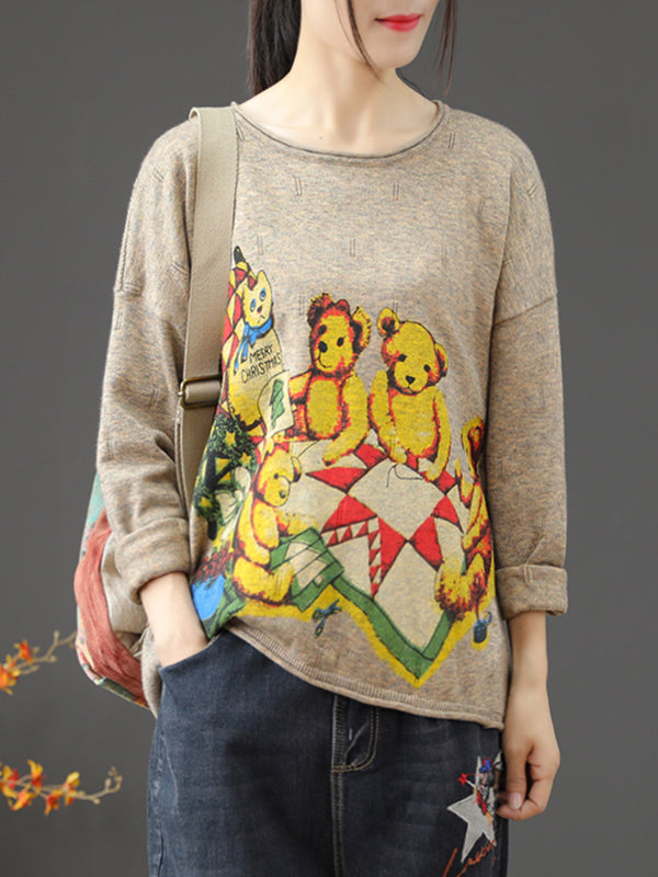 Round Neck Sweater with Bear Family Prints