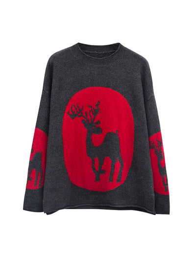 Pullover Sweater Top with Deer Totem Print
