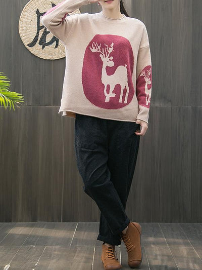 Luisa Pullover Sweater Top with Deer Totem Print