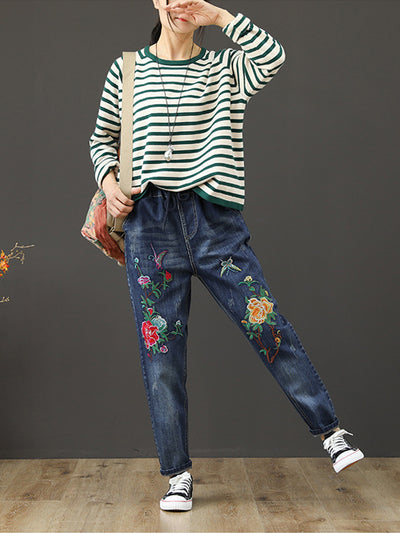 Tranquil Floral Basic Ninth Pants