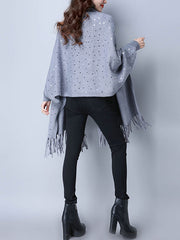 Solid Color Knit Cardigan with Sequins