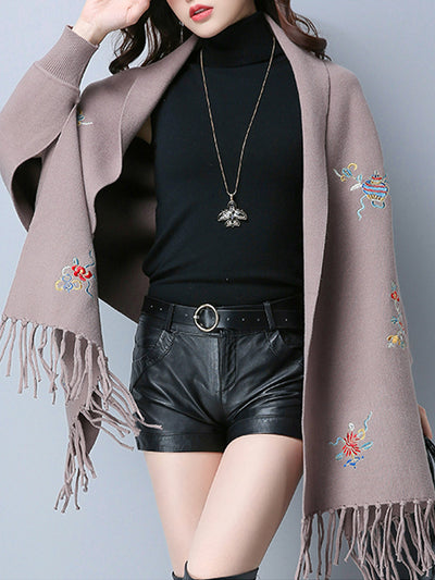Solid Color Scarf Cardigan with Flroal Embroidery