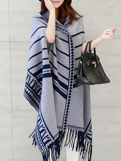 Blanket Scarf Cardigan with Strips