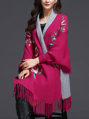 Blossom Scarf Cardigan with Tassels