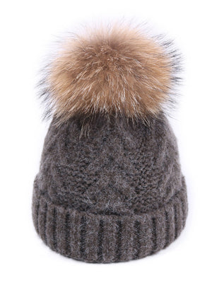 Fuzzy Ball Wool Cotton Beanie