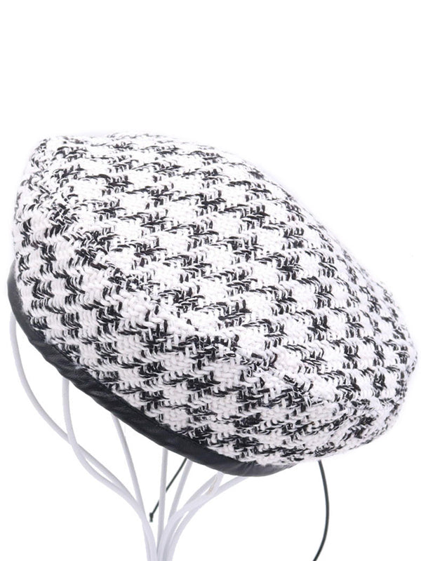 B&W Tartan Patch Cotton Beret
