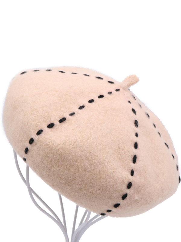 Solid Color Dotted Line Beret