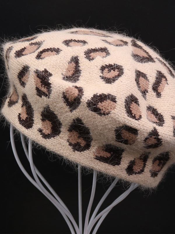 Cony Hair Knit Beret with Leopard Prints