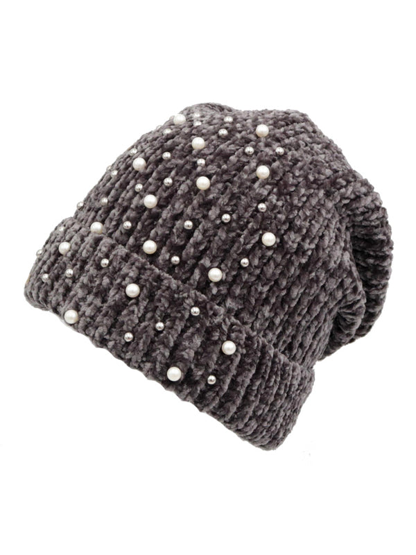 Solid Color Knit Beanie with Rhinestones