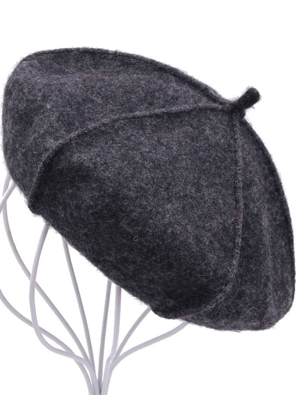 Plain Wool Beret with Pumpkin Slices