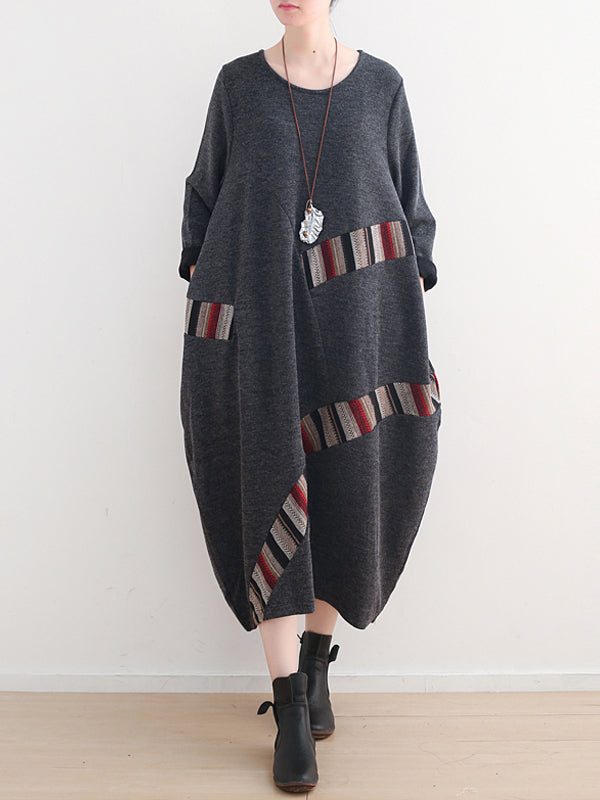 Sweater Midi Dress with Stripe Patchwork
