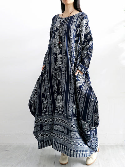 Ethnic Linen & Cotton Maxi Dress with Floral Prints